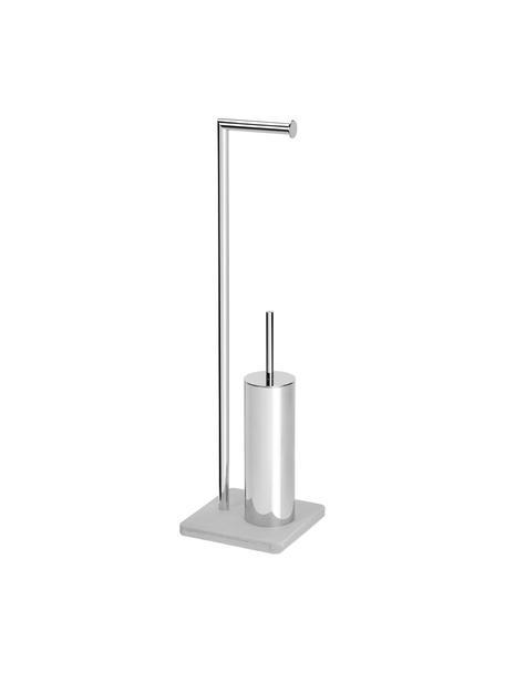Toilettenpapierhalter Belgravia mit Toilettenbürste, Metall, beschichtet, Grau, 20 x 72 cm