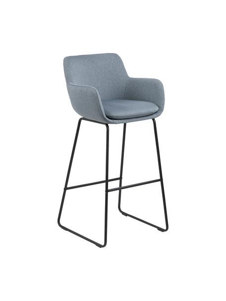 Sedia da bar Lisa 2 pz, Rivestimento: poliestere, Struttura: metallo verniciato a polv, Grigio blu, Larg. 52 x Alt. 100 cm