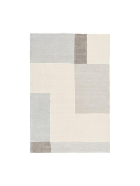 Handgetufteter Wollteppich Keith mit geometrischem Muster, Flor: 100% Wolle, Beige, Grau, B 120 x L 180 cm (Größe S)