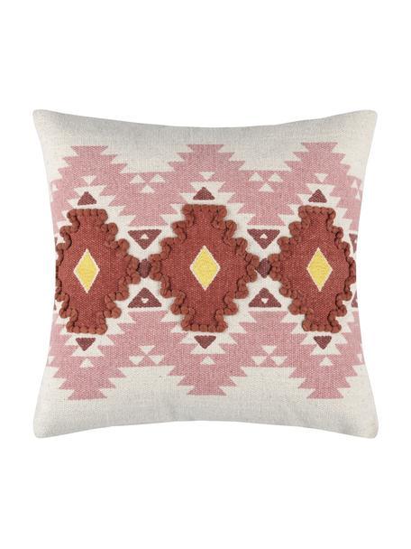Poszewka na poduszkę Puebla, 100% bawełna, Blady różowy, żółty, ciemny czerwony, złamana biel, S 40 x D 40 cm