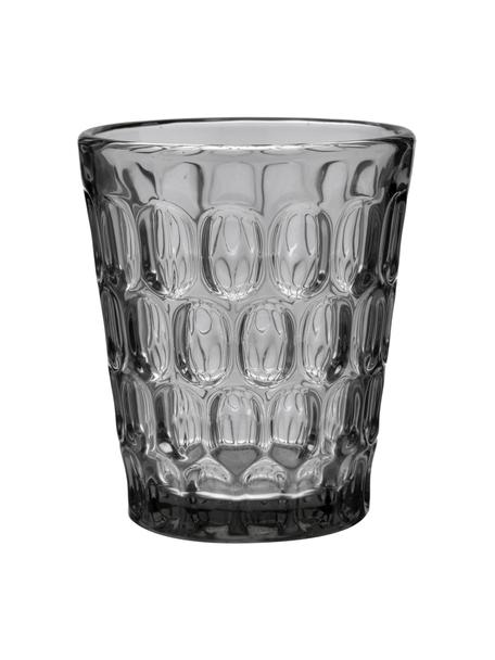 Robuste Wassergläser Optic mit Relief, 6er-Set, Glas, Transparent, Grau, Ø 9 x H 11 cm