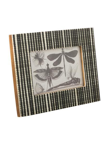 Portafoto da tavolo Babbit, Cornice: osso di bufalo, Retro: Pannelli di fibra a media, Nero, bianco, 10 x 15 cm