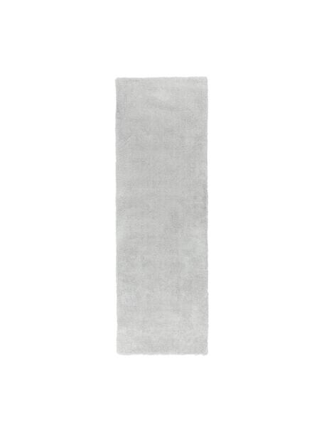 Alfombra de pelo largo Leighton, Parte superior: 100%poliéster (microfibr, Reverso: 70%poliéster, 30%algodó, Gris claro, An 80 x L 250 cm