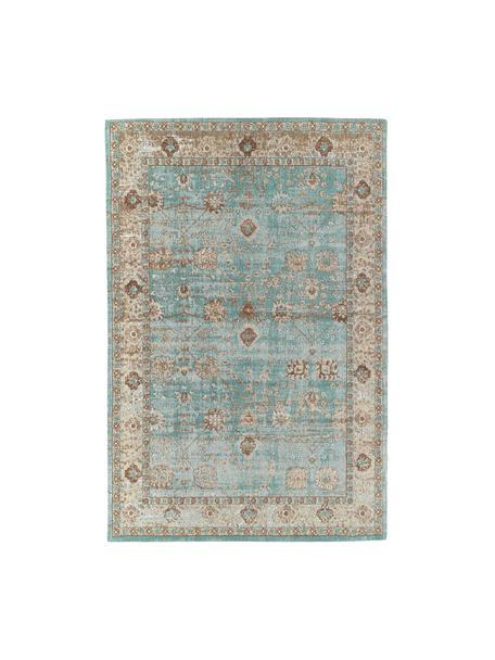Tappeto in ciniglia tessuto a mano Rimini, Retro: 100% cotone, Turchese, taupe, marrone, Larg. 160 x Lung. 230 cm (taglia M)