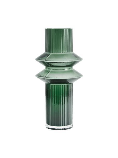 Transparante glazen vaas Rilla met een groene glans, Glas, Groen, Ø 9 x H 32 cm