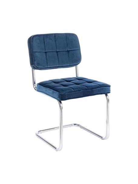 Silla cantilever de terciopelo Iole, Estructura: acero cromado, Tapizado: terciopelo (100%poliéste, Azul, An 46 x Al 84 cm