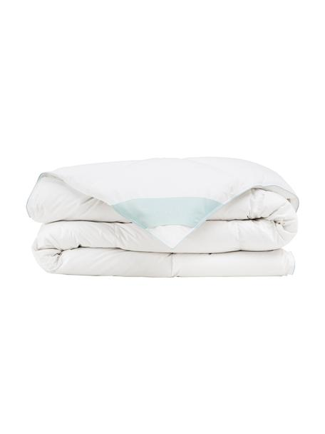 Edredón de plumón Comfort, medio, Funda: 100%algodón Mako, Blanco con ribete turquesa satinado, Cama 90 cm (150 x 200 cm)