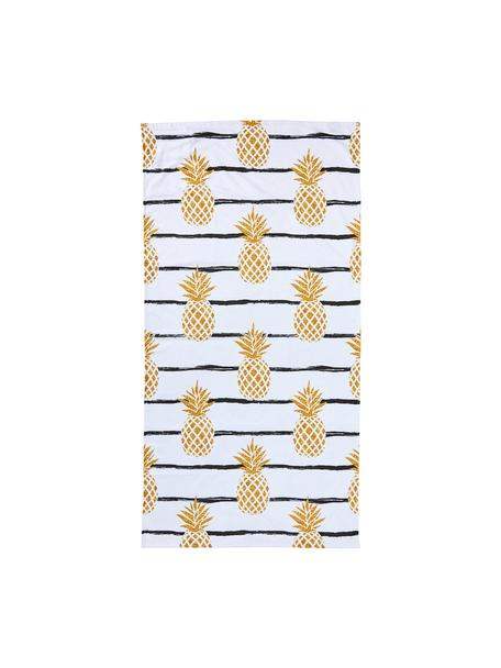 Toalla de playa Case Pineapples, Parte trasera: terry, Blanco, amarillo, negro, An 90 x L 180 cm