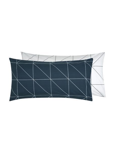 Dwustronna poszewka na poduszkę z bawełny renforcé Marla, 2 szt., Granatowy, biały, S 40 x D 80 cm