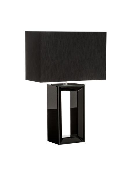 Grosse Tischlampe Serafina aus Spiegelglas, Lampenschirm: Textil, Lampenfuss: Schwarz, verspiegelt<br>Lampenschirm: Schwarz, 38 x 58 cm