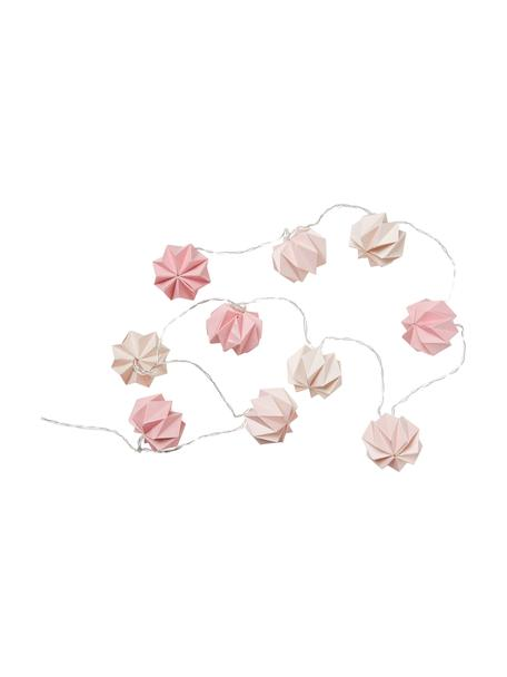 Guirnalda de luces Origami, Papel, Tonos rosas, L 200 cm