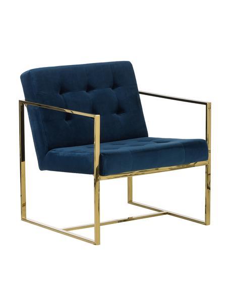 Sedia a poltrona in velluto Manhattan, Rivestimento: velluto (poliestere) La c, Struttura: metallo rivestito, Velluto blu scuro, Larg. 70 x Prof. 72 cm