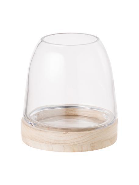 Windlicht Filio, Paulowniahout, glas, Lichtbruin, transparant, Ø 13 x H 13 cm