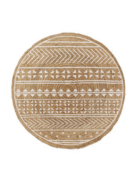 Tappeto rotondo con stampa Cecile, Fibra naturale, Beige, bianco, Ø 100 cm