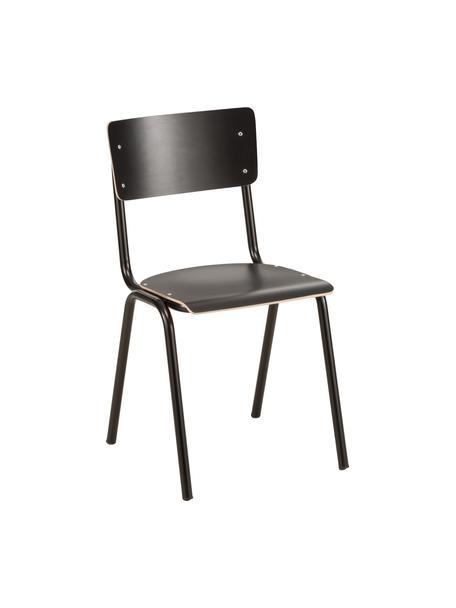 Krzesło Back to School, 4 szt., Nogi: metal malowany proszkowo, Czarny, 43 x 83 cm