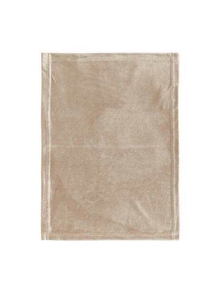 Manteles individuales de terciopelo Simone, 2uds., Terciopelo de poliéster, Beige, An 35 x L 45 cm