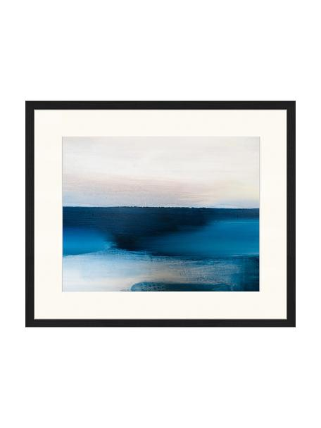 Oprawiony druk cyfrowy Blue And Grey Abstract Art, Wielobarwny, S 63 x W 53 cm