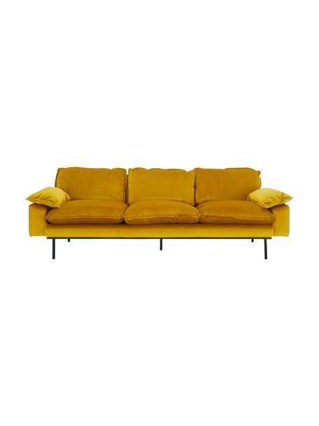 Fluwelen bank Retro (4-zits) in geel met metalen poten, Bekleding: polyester fluweel, Frame: MDF, houtvezelplaat, Poten: gepoedercoat metaal, Fluweel okergeel, B 245 x D 83 cm