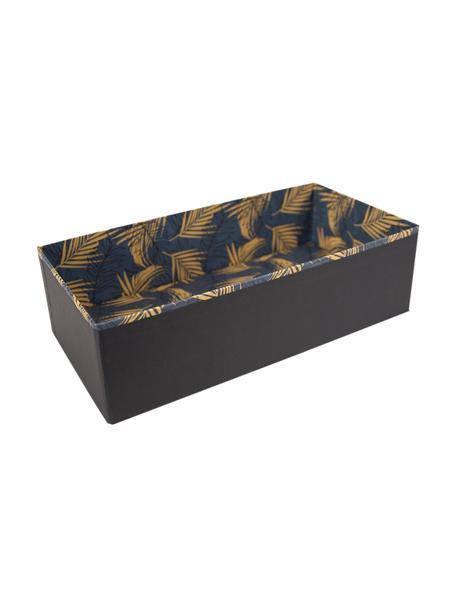 Aufbewahrungskiste Drawer, Fester, laminierter Karton, Goldfarben, Graublau, 36 x 10 cm