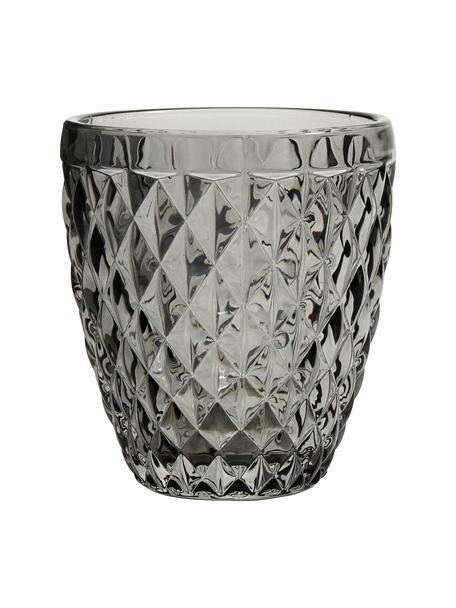 Vintage waterglazen Diamond met structuurpatroon, 6-delig, Glas, Fumé, licht transparant, Ø 9 x H 10 cm