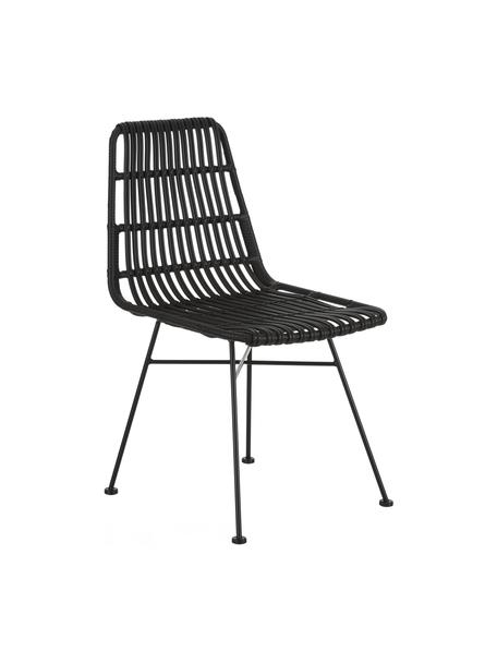 Polyrattan-Stühle Costa, 2 Stück, Sitzfläche: Polyethylen-Geflecht, Gestell: Metall, pulverbeschichtet, Schwarz, B 47 x T 61 cm
