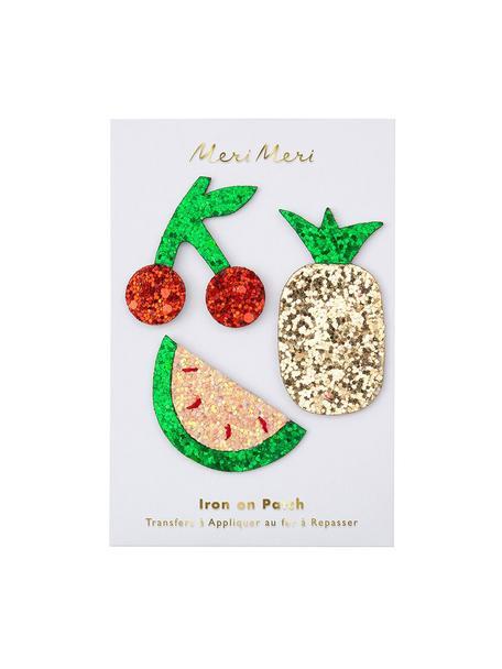 Set 3 toppe termoadesive Fruit, Tela di cotone, Verde, rosso, dorato, lucido, Set in varie misure