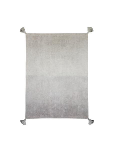Alfombra lavable de agodón con borlas Degrade, Parte superior: 97%algodón, 3%fibras mi, Reverso: algodón reciclado, Gris, An 120 x L 160 cm (Tamaño S)