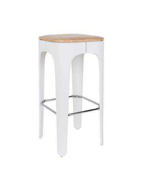 Barkruk Up-High, Zitvlak: massief essenhout, Poten: polypropyleen, mat gelakt, Zitvlak: essenhout Poten: wit voetsteun: chroom, 35 x 73 cm