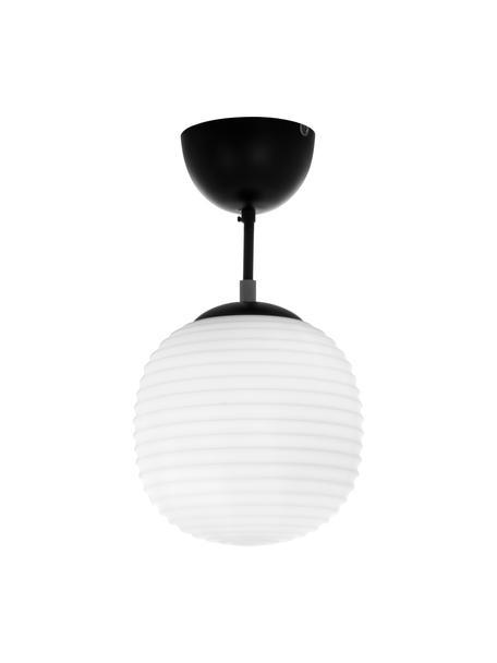 Plafondlamp Rille van opaalglas, Lampenkap: opaalglas, Baldakijn: gecoat metaal, Zwart, opaalwit, Ø 21 x H 38 cm