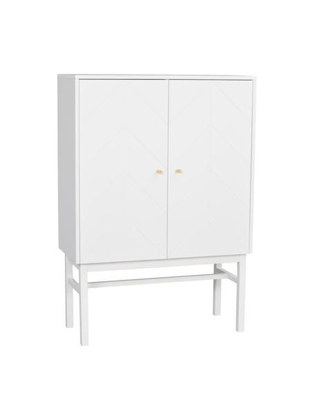Skandi-Highboard Webster mit Türen in Weiss, Korpus: Mitteldichte Holzfaserpla, Beine: Gummibaumholz, massiv, Weiss, 94 x 135 cm
