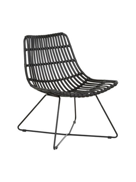 Sedia a poltrona boho con intreccio nero Costa, Seduta: treccia di polietilene, Struttura: metallo verniciato a polv, Nero, Larg. 64 x Prof. 64 cm