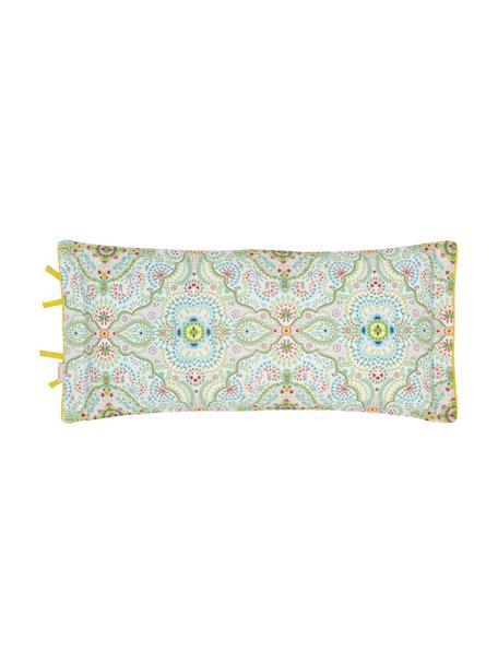Baumwoll-Kissenbezug Moon Delight mit dekorativen Schleifen, Webart: Perkal Fadendichte 200 TC, Weiß, Grün, Mehrfarbig, 40 x 80 cm