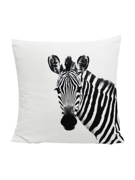 Kissenhülle Kelsey mit Zebra Motiv in Schwarz/Weiss, 100% Polyester, Weiss, Schwarz, 45 x 45 cm