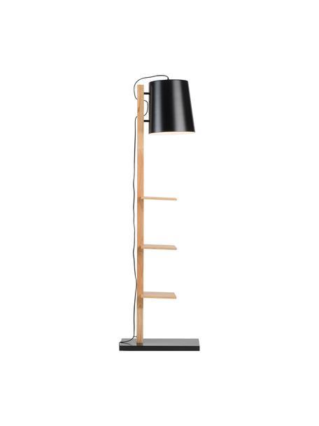 Leeslamp Cambridge van hout met planken, Lampenkap: gepoedercoat metaal, Frame: hout, Lampvoet: gepoedercoat metaal, Zwart, houtkleurig, 38 x 168 cm