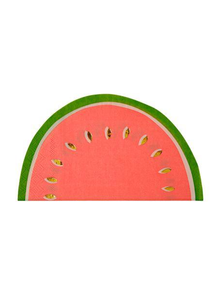 Tovagliolio di carta Watermelon 16 pz, Carta, Rosso, verde, dorato, Larg. 20 x Lung. 17 cm
