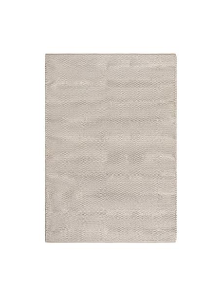 Tappeto in lana tessuto a mano con struttura intrecciata Uno, Retro: cotone, Crema, Larg. 120 x Lung. 170 cm (taglia S)