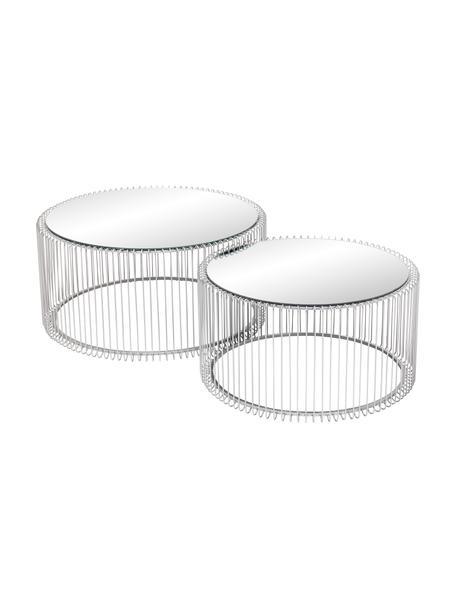 Metall-Couchtisch 2er-Set Wire mit Glasplatte, Gestell: Metall, pulverbeschichtet, Tischplatte: Sicherheitsglas, foliert, Chrom, Set mit verschiedenen Grössen
