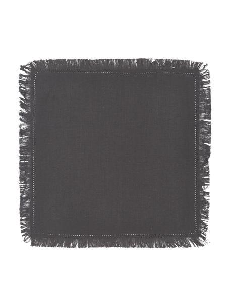 Baumwoll-Servietten Hilma mit Fransen, 2 Stück, 100% Baumwolle, Schwarz, 45 x 45 cm