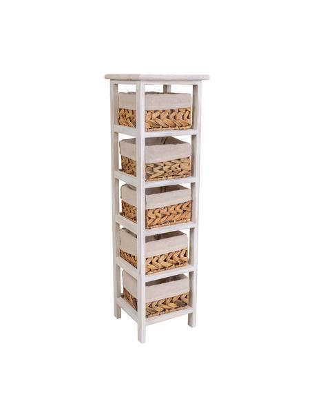 Cómoda Barbabru, Estructura: madera de paulonia, Interior: tejido, Blanco, An 25 x Al 88 cm
