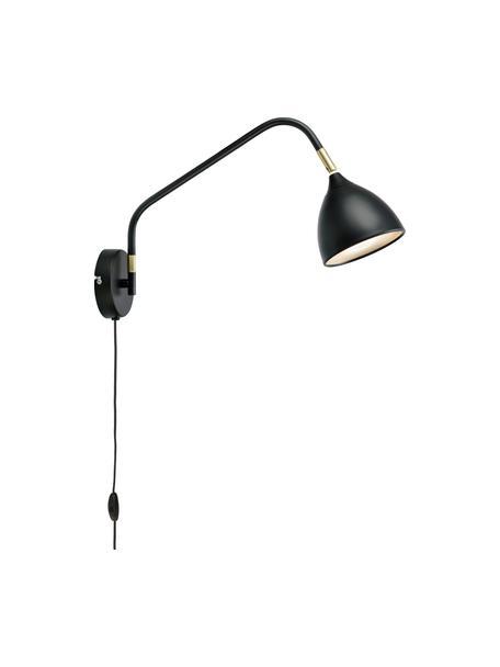 Wandleuchte Valencia mit Stecker, Lampenschirm: Metall, beschichtet, Diffusorscheibe: Kunststoff, Dekor: Metall, vermessingt, Schwarz, 12 x 28 cm