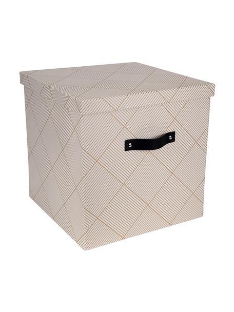 Opbergdoos Texas, Doos: stevig, gelamineerd karto, Goudkleurig, wit, 32 x 31 cm