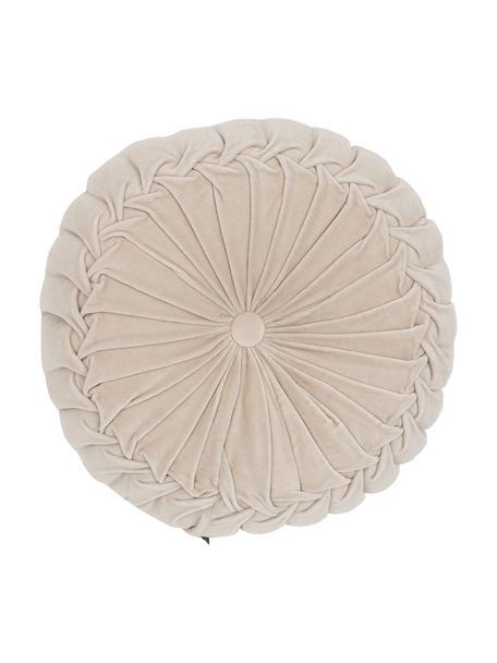 Cojín redondo de terciopelo Kanan, con relleno, Funda: terciopelo 100%algodón, Beige claro, Ø 40 x Al 10 cm