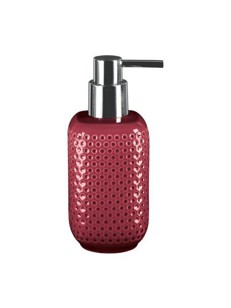 Dozownik do mydła z kamionki Mila, Burgundowy czerwony, Ø 8 x W 17 cm