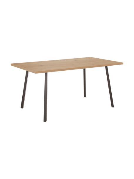 Mesa de comedor Cenny, Tablero: tablero de fibras de dens, Estructura: metal, con pintura en pol, Roble, negro, An 160 x F 90 cm