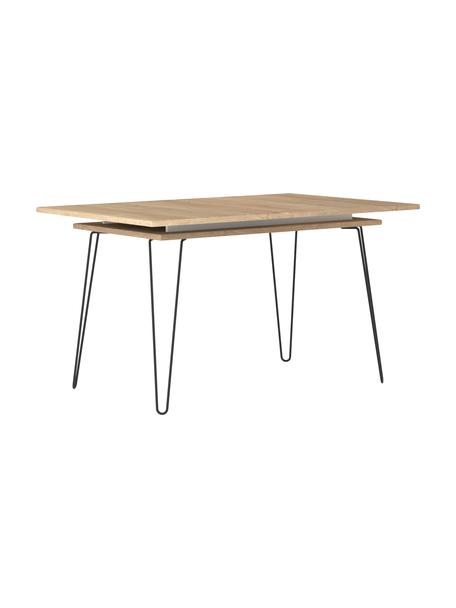 Uittrekbare eettafel Aero, Poten: gelakt metaal, Eikenhoutkleurig, B 134-174 x D 90 cm