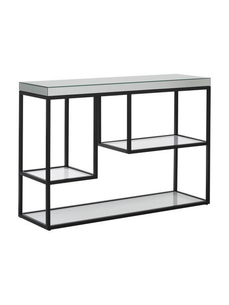 Sidetable Pippard met glazen plateaus, Frame: gelakt metaal, Tafelblad: spiegelglas, Zwart, transparant, B 120 x D 36 cm