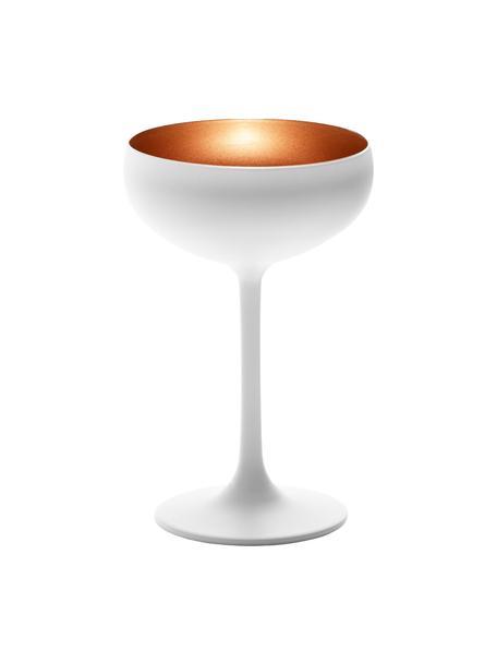 Kristall-Champagnerschalen Elements in Weiss/Kupfer, 6er-Set, Kristallglas, beschichtet, Weiss, Bronzefarben, Ø 10 x H 15 cm