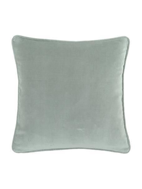 Federa arredo in velluto verde salvia Dana, 100% velluto di cotone, Verde salvia, Larg. 40 x Lung. 40 cm