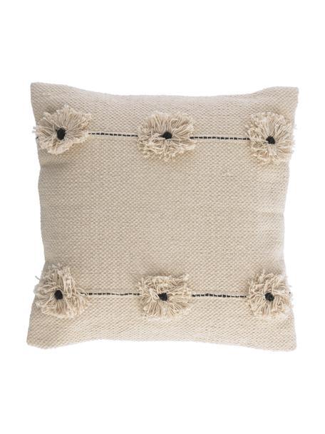 Kissenhülle Belisa mit Struktur-Oberfläche und dekorativen Blumen, 100% Baumwolle, Beige, 45 x 45 cm