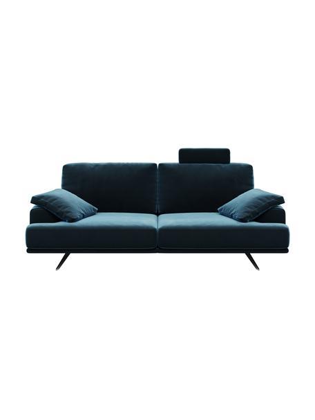 Sofa z aksamitu Prado (2-osobowa), Tapicerka: aksamit poliestrowy Dzięk, Nogi: metal lakierowany, Ciemny niebieski, S 220 x G 107 cm